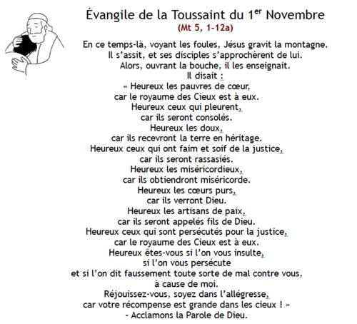 Mardi 1er novembre : la Toussaint