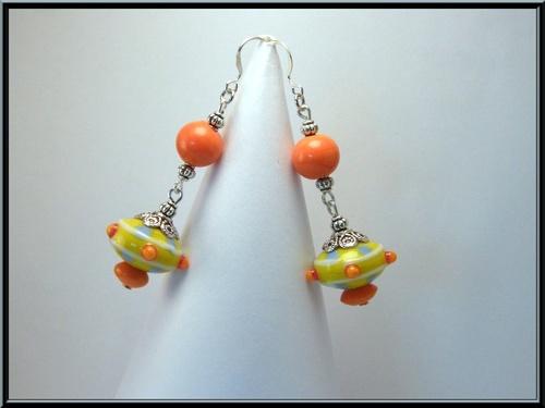 Boucles d'oreille perles lampwork, clou argent.
