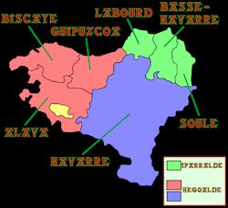 carte des Provinces du Pays Basque