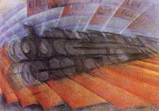 Luigi Russolo, Dynamisme d'un train, 1912