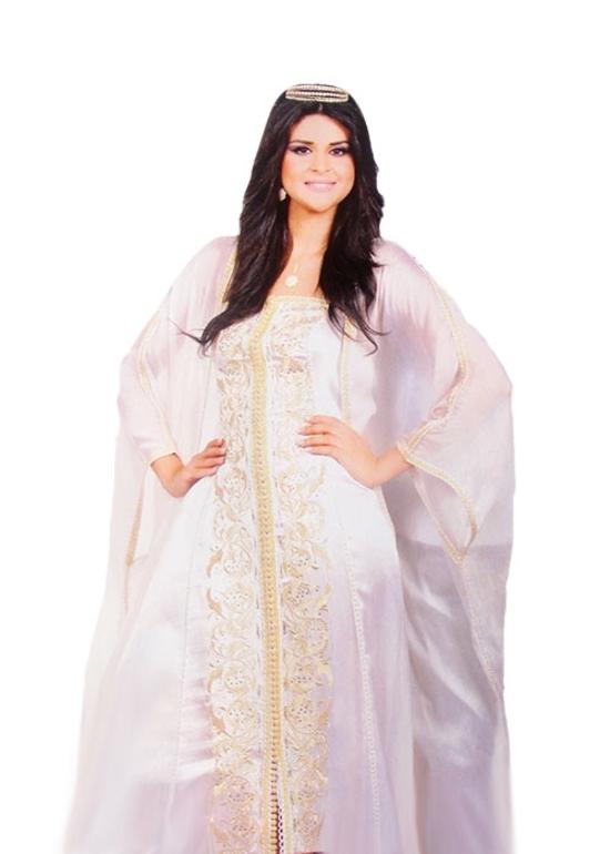takchita haute couture pas cher et sur mesure avec un style abaya et un caftan simple bustier TAK-S840