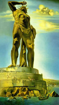 Le Colosse de Rhodes, peint par Dalí - Source : 7wonders.org