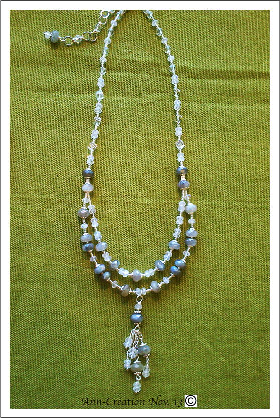 Collier pendentif 2 rangs - Labradorite, Cristal de roche / Argent 925