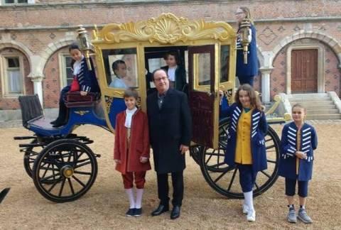 Fraénçois Hollande au chateau de Maintenon
