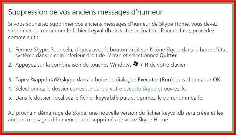 Comment effacer nos anciens messages d'Humeur de Skype  ?