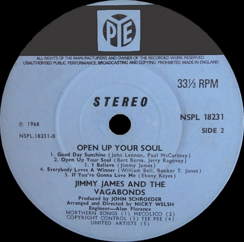 "Jimmy James & The Vagabonds : Album "" Open Up Your Soul "" Pye Records NSPL 18231 [ UK ]"