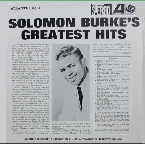 "Solomon Burke : Album "" Solomon Burke's Greatest Hits "" Atlantic Records SD 8067 [ US ]"