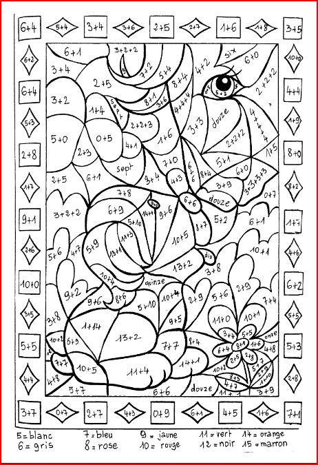 Coloriage ducatifs ce1 ce2 cm1 cm2 fran ais et math matique for Coloriage magique table x 6
