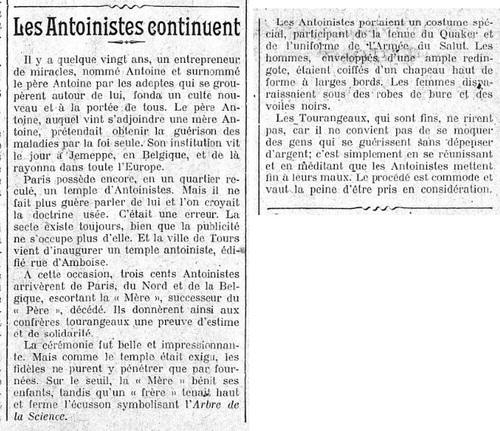 Inauguration du Temple de Tour (Figaro, 25 août 1921)
