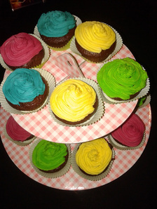 anniversaire cup cakes fluo
