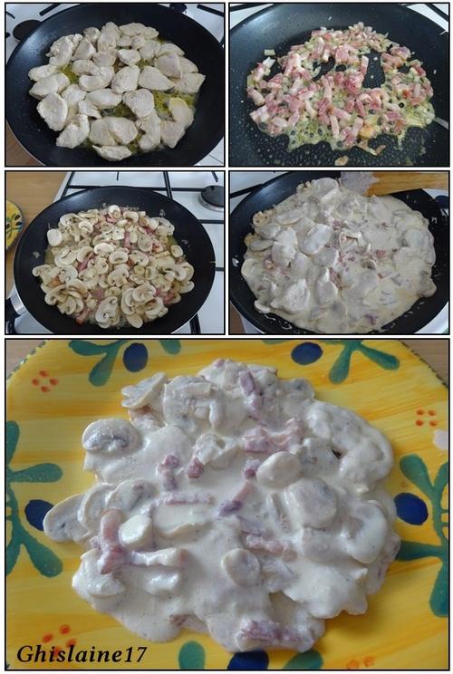 Poulet aux champignons et lardons à la crème