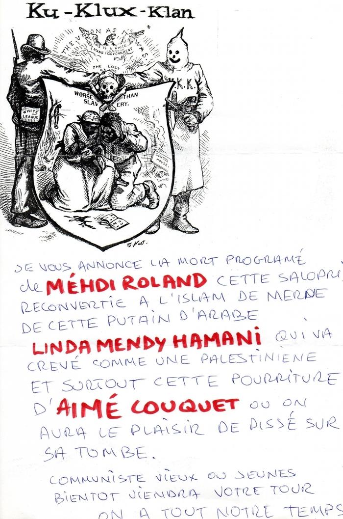 A  Béziers le 1er Novembre 2015 le maire Robert Ménard va s'incliner devant la stèle de la honte...  Pendant ce temps des Républicains reçoivent des lettres de mort…