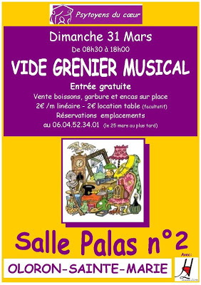 vide grenier Musical des Psytoyens du Coeur  à Oloron-Sainte-Marie