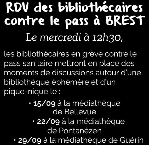 Gilet Jaunes Brest : RDV DES BIBLIOTHÉCAIRES CONTRE LE PASS À BREST. ( Fb.com - 13/09/21)