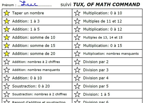 """Fiche de suivi logiciel """"Tux, of math command"""""""