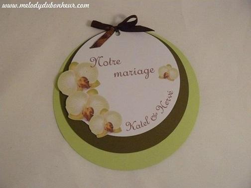 Faire part rond mariage orchidée
