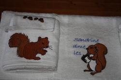 Set de 3 serviettes écureuil