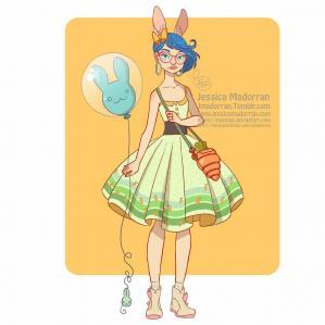 Jessica madorran character design bunny day 01 dress 2019 artstation
