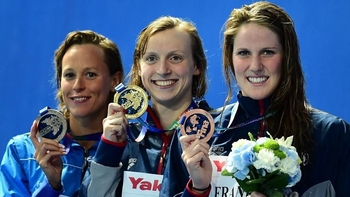 Podium royal avec Pellegrini, Ledecky et Franklin