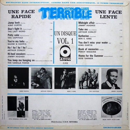 "Série "" Terrible Rhythm & Blues Vol 1 "" Atco Records 3008 [ FR ] en 1969"