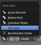 Choisir le curseur 3D comme point de pivot