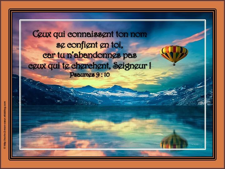 Tu n'abandonnes pas ceux qui te cherchent - Psaumes 9 : 10