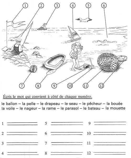 Exercice vocabulaire plage CP