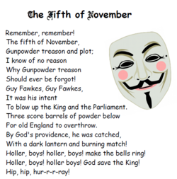 Guy Fawkes night or Bonfire night: November 5th