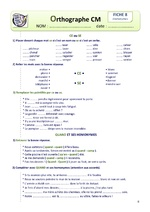 Fiches Orthographe : Les Homonymes Grammaticaux