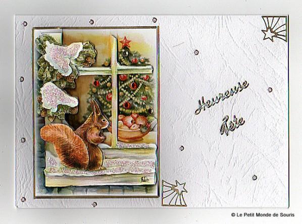 carte 3d motif écureuil - Noël