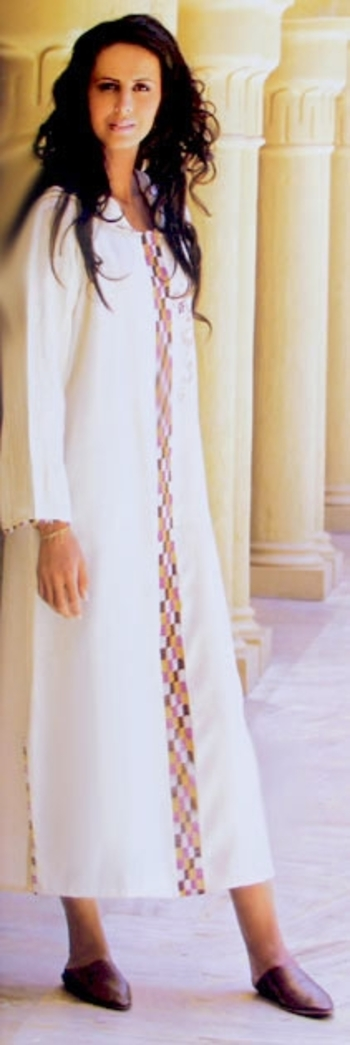 Djellaba marocaine blanc cassé - DJ S1016