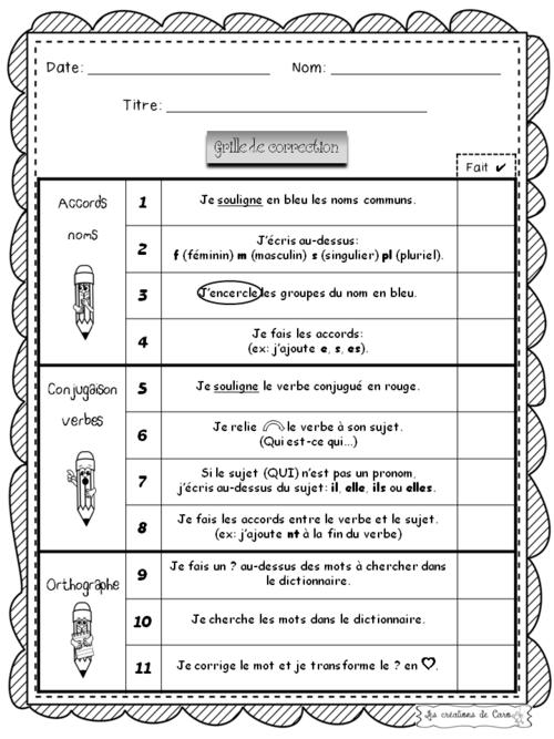 Grilles de correction et de révision pour texte narratif