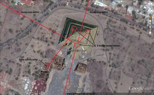 La pyramide de la Lune, à Téotihuacan, les souterrains et salles sous la pyramide, 04/11/14. (Albert Fagioli) (Photo Google Earth)