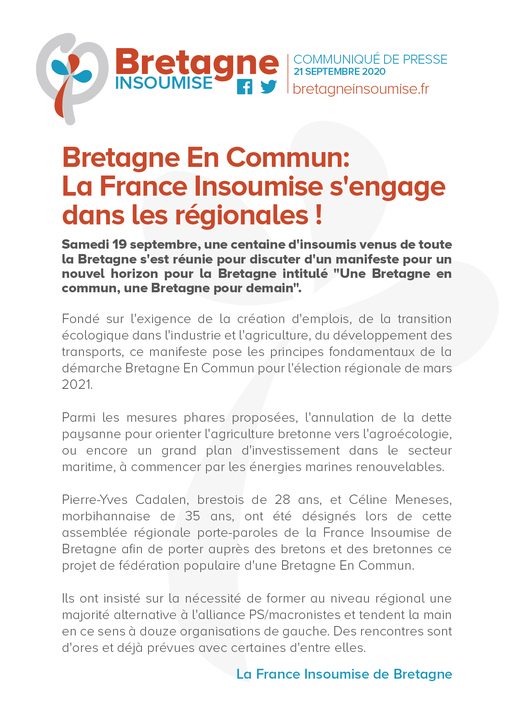 Bretagne En Commun: La France insoumise s'engage dans les régionales !