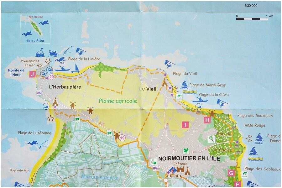 Carte nord de l'ile de  Noirmoutier