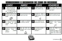 Calendrier d'écriture, janvier, février, mars
