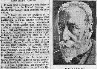 """""""On croit mourir pour la patrie, on meurt pour des industriels"""" Anatole France 1922"""