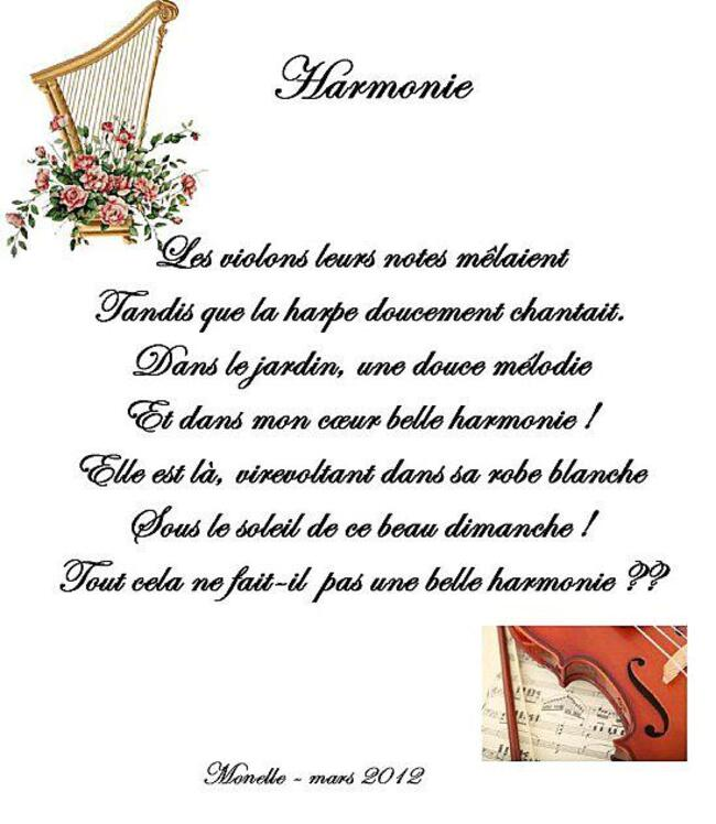 "Poésie  ""Harmonie"""