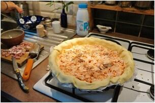 Tarte Saumon, poireaux, dés de jambon