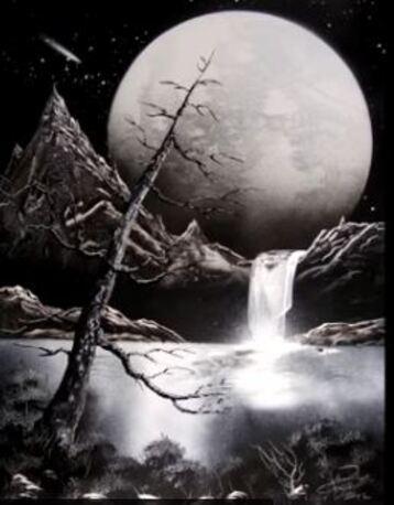 Dessin et peinture - vidéo 2047 : Peindre avec une peinture aérosol - (peinture en bombe) - la nature cosmique en noir et blanc.