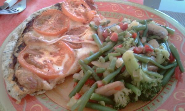 Tarte fine basilic, tomates et mozzarella