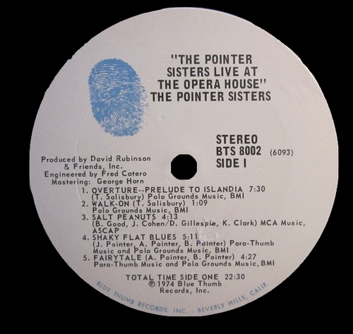 "The Pointer Sisters : Album "" The Pointer Sisters Live At The Opera House "" Blue Thumb Records BTS 8002 [ US ]"
