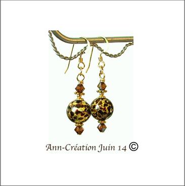 Boucles Verre de Murano authentique Brun moucheté Feuille d'Or N°2 / Plaqué Or 14 kt Gold Filled