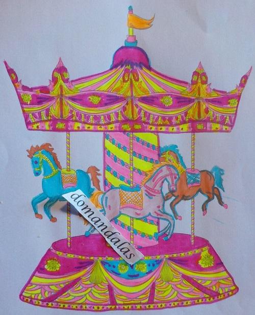 DOMANDALAS  coloriage d'un manège de chevaux de bois