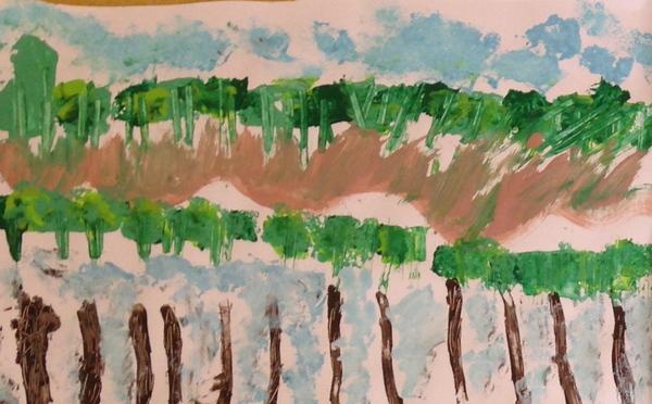 Une mare...scène de peinture pour des élèves de moyenne et grande section