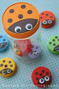 ladybug counters (made from plastic bottle caps)