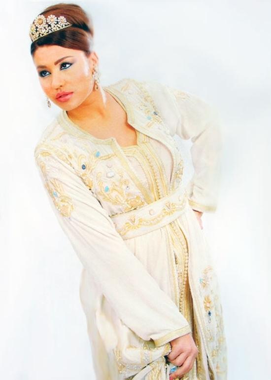 Takchita-2015-blanc-cassé-et-beige-de la haute couture marocain en ligne et pas cher TAK-S881