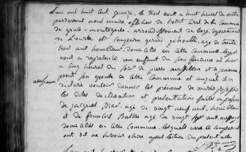 acte de naissance de la mère de Mère Antoine en 1815
