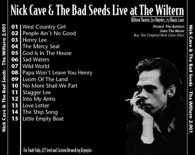 Live: Nick Cave and the Bad Seeds - Live at the Wiltern - 25 Mars 2001