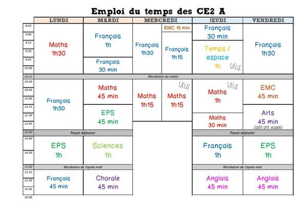 Emploi du temps CE2 2017 - 2018